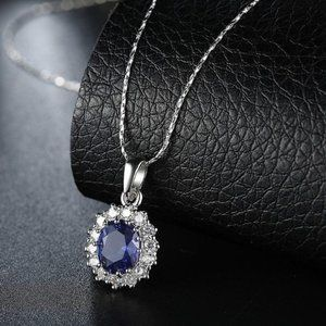 Jewelry - 18K White Gold 3.55 CTTW Sapphire Necklace NWOT